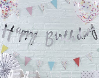 Silver Happy Birthday Banner, Silver Birthday Bunting, Silver Birthday Party Decorations