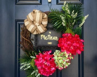 Tropical Wreath with Family Name Sign