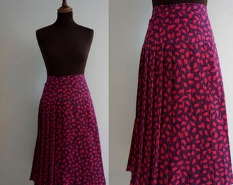 1980s Pleated Falling Leaf Skirt / Pink and Blue Vintage Skirt