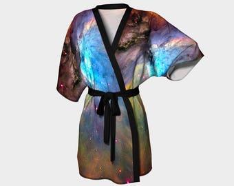 Orion Nebula, Kimono Robe, Nebula, Dressing Gown, Bridesmaid Robe, Colorful Robe, Spa Robe, Swimsuit Coverup, Robe, Knit, Chiffon Kimono,