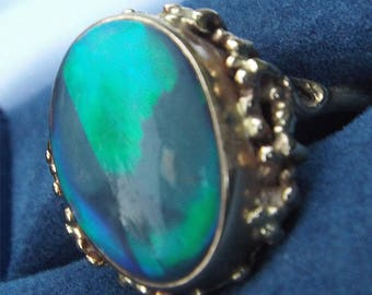 Lightning Ridge Large Solid Opal Cabachon Ring in 14k Yellow Gold Setting