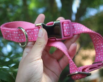 Large Pink Polka Dot Dog Collar