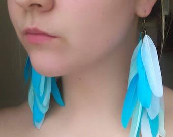 mint blue white feathers earrings