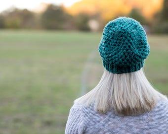 Crochet popcorn slouchy hat