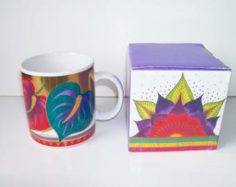 Collectible Laurel Burch coffee/tea porcelain mug. Celestial Lotus, new in the box (#EV71)