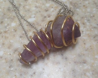 Amethyst Wire Wrapped Crystal Necklace