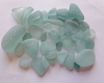 Sea glass / sea glass 40 pieces blue tones