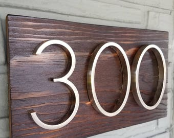 Rustic wood house number sign