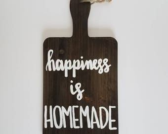 Happiness is homemade cutting board decor