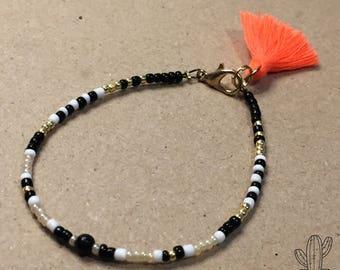 Tassel Pompon Seed beads Bracelet FriendshipBracelet Fluro orange fluo BeadedBracelet Kid and Woman white Black Gold Gift Feminin Girl