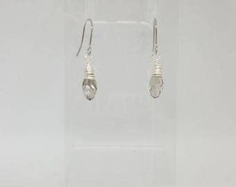 Handmade Briolette Austrian Clear Crystal Drop Earrings with Surgical Steel Posts