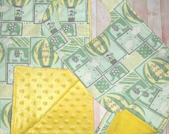 Baby boy minky blanket set - Mint green elephant - Adventure begins - Baby blanket, bib, and burp cloth
