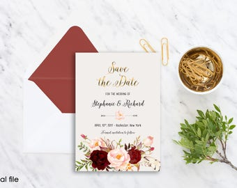Save the Date Printable Floral Digital Wedding Marsala Burgundy Watercolor Gold letters Bohemian Save the Date Invite WS-012