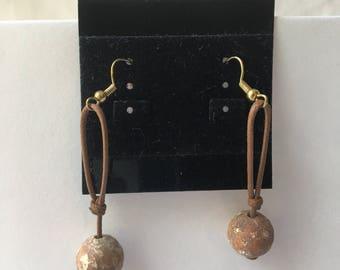 Round Stone Dangle Earrings