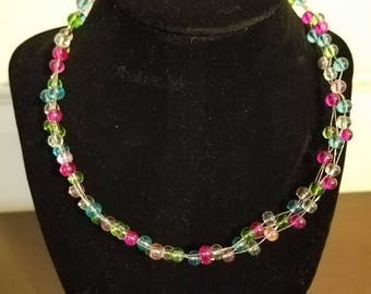Pastel Pink, Blue, Green, & Clear Beaded Necklace, Glass beads, Nickel-free Hardware