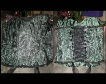 Green corset with Black Lace