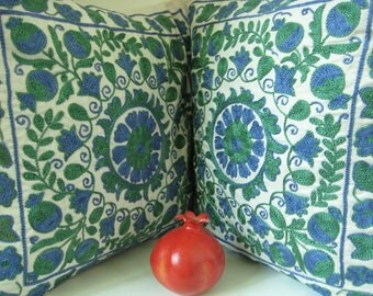 SALE!!! A Very Special Two-pieces Suzani Handmade Pillowcase Set from Uzbekistan. The Art of Embroidery!