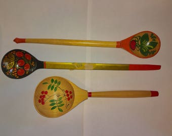 3 Vintage Khokhloma Spoons