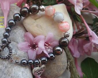 Hemalyke, pink marbled glass, white marble, beaded bracelet.  Black , Pink, White. Dog/Cat rescue bracelet. Heart Paw Best Friend Charm.
