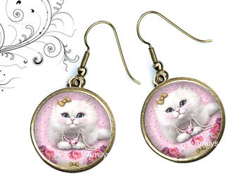 Earrings cats Persian shabby cabochons, jewelry cats, white cats, mother's day. R105