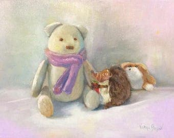 Vintage Teddy/A gift for you. ORIGINAL oil painting