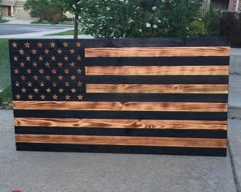 Rustic Burnt American Flag
