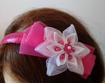 Pink White Sequin Kanzashi Flower Headband for Child Girl Toddler Women