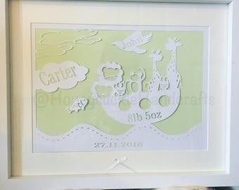 Personalised Noahs Ark Framed Papercut