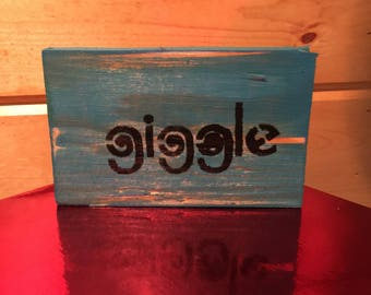 Adorable Blue Wood Block - Giggle