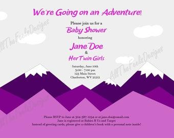 Baby Shower Invitation - Pink Mountain Adventure!