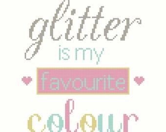 Glitter is My Favourite Colour PDF Cross Stitch Pattern