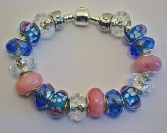 Bracelet 21 Blue and pink european beads