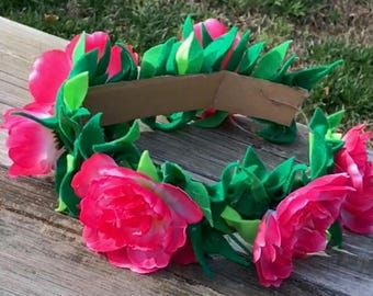 Moana Headband, Moana Party Flower Crown, Toddler Girls Flower Crown, Moana Costume, Moana Flower Crown, Tieback Flower Crown Headband