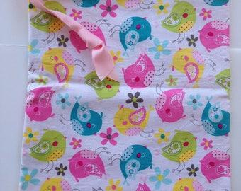 Sew Simple little bird print drawstring bag