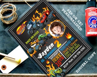 blaze and the monster machines invitations, blaze invitations, blaze birthday, blaze birthday Invitations, blaze and the monster machines