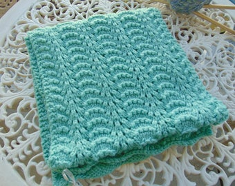 """Shawl or wrap, Hand Knit, Light Green Rectangle, 12"""" x 50"""""""