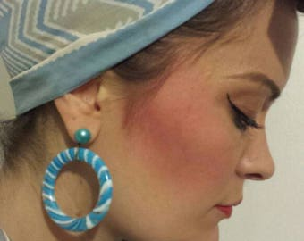 Blue and white striped fifties style rockabilly pinup earrings. Made to order.