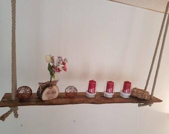 Rustic antique ceiling Danglers hanging shelf Deckendeko wood rope unique vintage candle holder