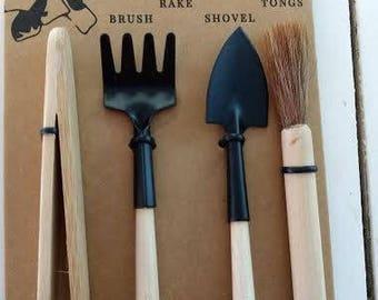 Mini Terrarium Tools Rake Shovel Brush Tongs For Fairy Gardens Terrariums
