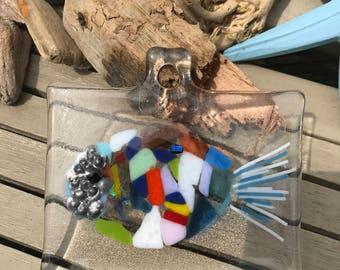 Fused glass fish sun catcher