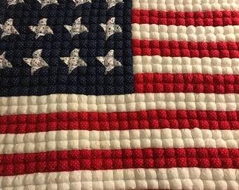 Handmade American Flag Quilt