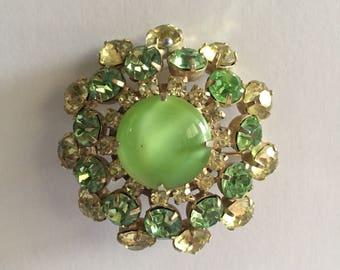 50's green brooch