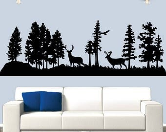 Wildlife Scene Vinyl Wall Decal, Deer In Woods Sticker, Trees Decal, Bird Flying Sticker, Nature Life Decor, Hunting Decals, Wall Decals