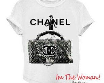 On Sale t shirt hashtag Chanel Fashion Tshirt Sale  Chanel Inspired T Shirt On Sale Purse Lady Coco Black and White T-Shirt  Sale
