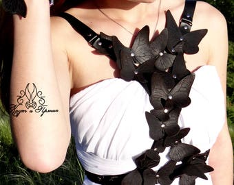 Woman bra harness, leather harness, Leather Butterflies, Black Butterfly,  Body Harness, Harness with butterflies, Leather Bra, Lingerie