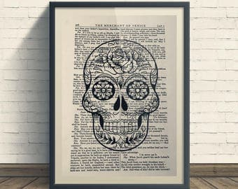 Sugar Skull - A4 Art Print On Old Book Page, Home, Skulls, Day of The Dead