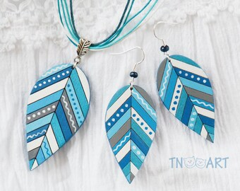 Wooden Leaves Earring Pendant Set/ handmade jewelry wood earrings hand painted leaf ethnic style nature Gzhel colors blue white cyan