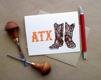 Linocut Greeting Card //  Cowboy Boots //  ATX // Western // Vintage