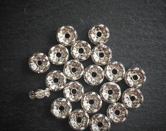 20 x Silver Rhinestone Bracelet Spacer Connector