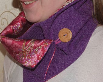 Harris Tweed neckwarmer with Liberty silk satin lining